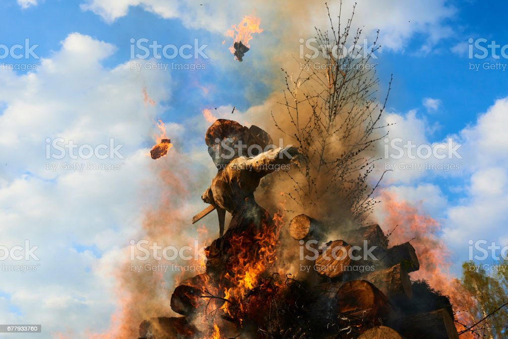 Burning of the Witches at the Witches Night royalty-free stock photo