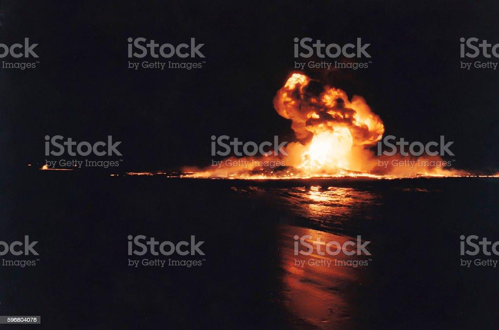Burning oil well fire, Persian Gulf War, Kuwait stock photo