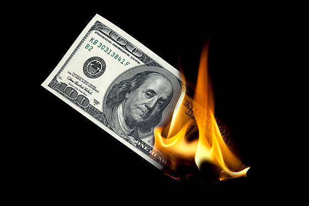burning one hundred dollar - burning stock pictures, royalty-free photos & images