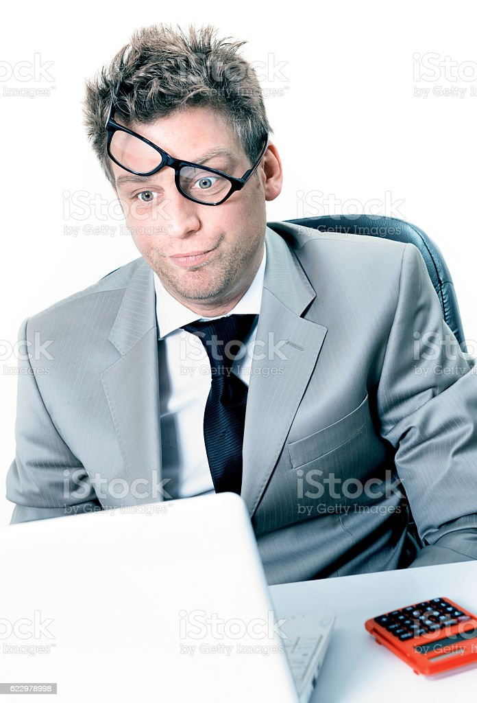 burning out of stressed manager at the office stock photo