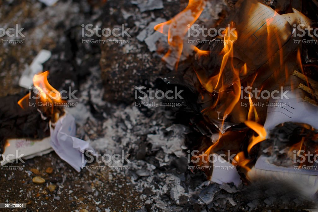 burning paper letters closeup royalty-free stock photo