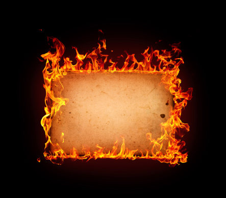 Burning paper isolated on black backgroundMore fire frames: