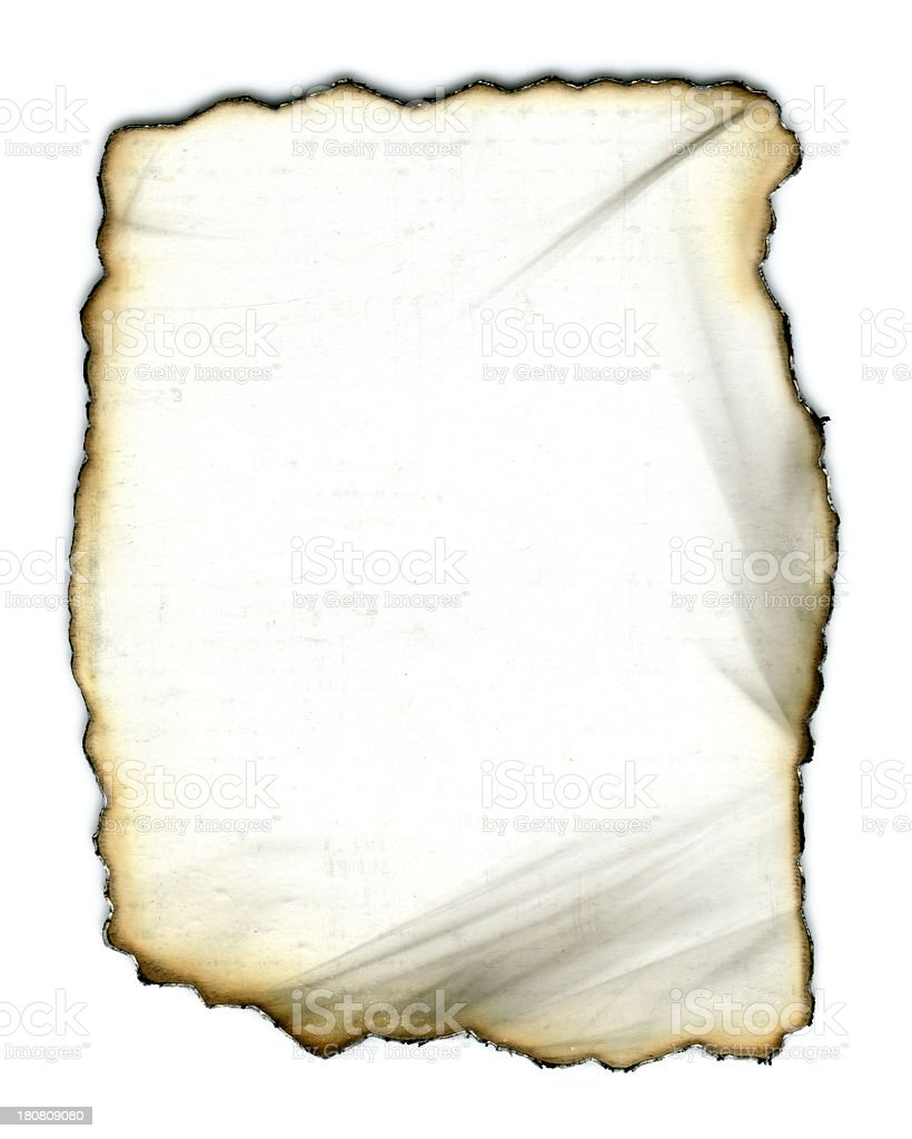 Burning paper textured background isolated on white royalty-free stock photo