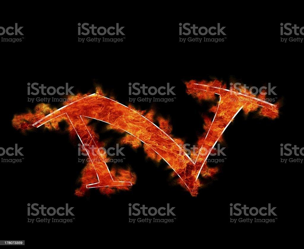 N burning. royalty-free stock photo