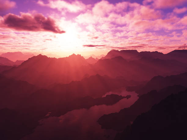 Burning pink sunset at mountains peaks 3d rendering design background stock photo