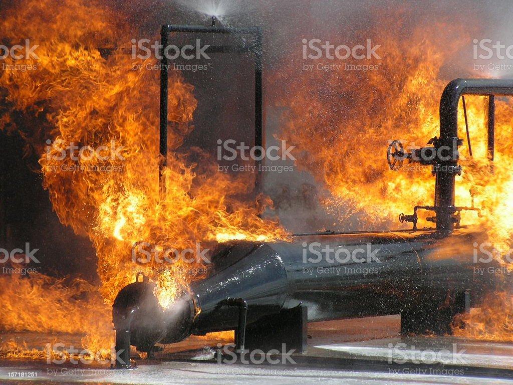 Burning Pipe Flange 2 stock photo