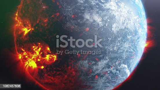 Planet Earth on fire. Climate change metaphor. Massive CG graphics created using VC orb plug-in mixed with NASA imagery. Texture map: https://www.solarsystemscope.com/textures/download/8k_earth_daymap.jpg; https://www.solarsystemscope.com/textures/download/8k_earth_nightmap.jpg; https://www.solarsystemscope.com/textures/download/8k_earth_clouds.jpg. NASA still from https://svs.gsfc.nasa.gov/13057