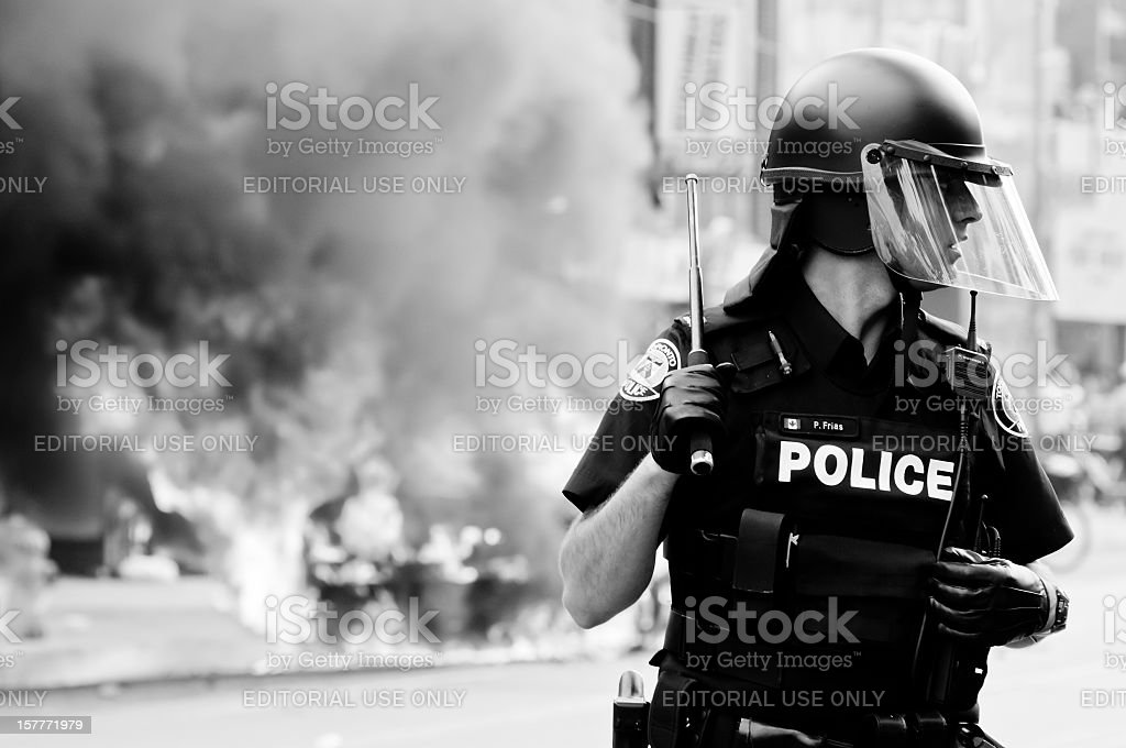 Burning Police Car stock photo