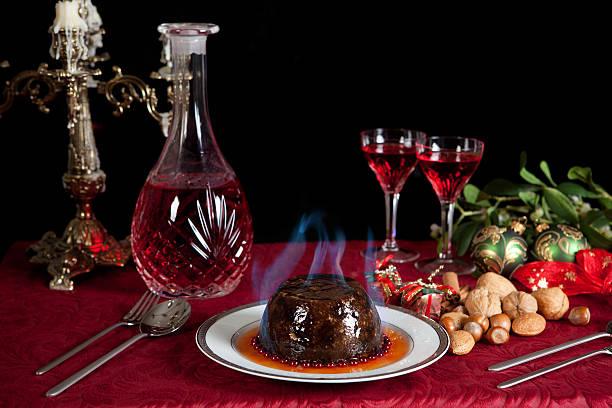 Burning pudding stock photo