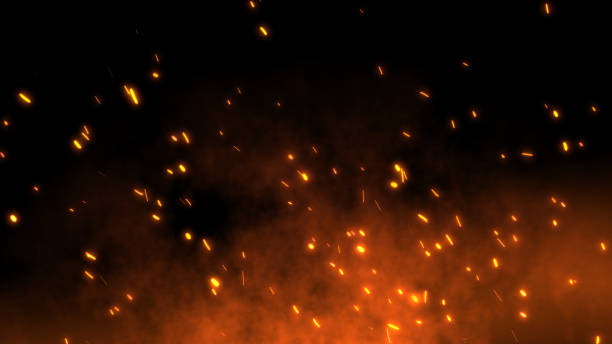 Burning red hot sparks fly away from large fire in the night sky Burning red hot sparks rise from large fire in the night sky. Beautiful abstract background on the theme of fire, light and life. Fiery orange glowing flying away particles over black background in 4k flame stock pictures, royalty-free photos & images