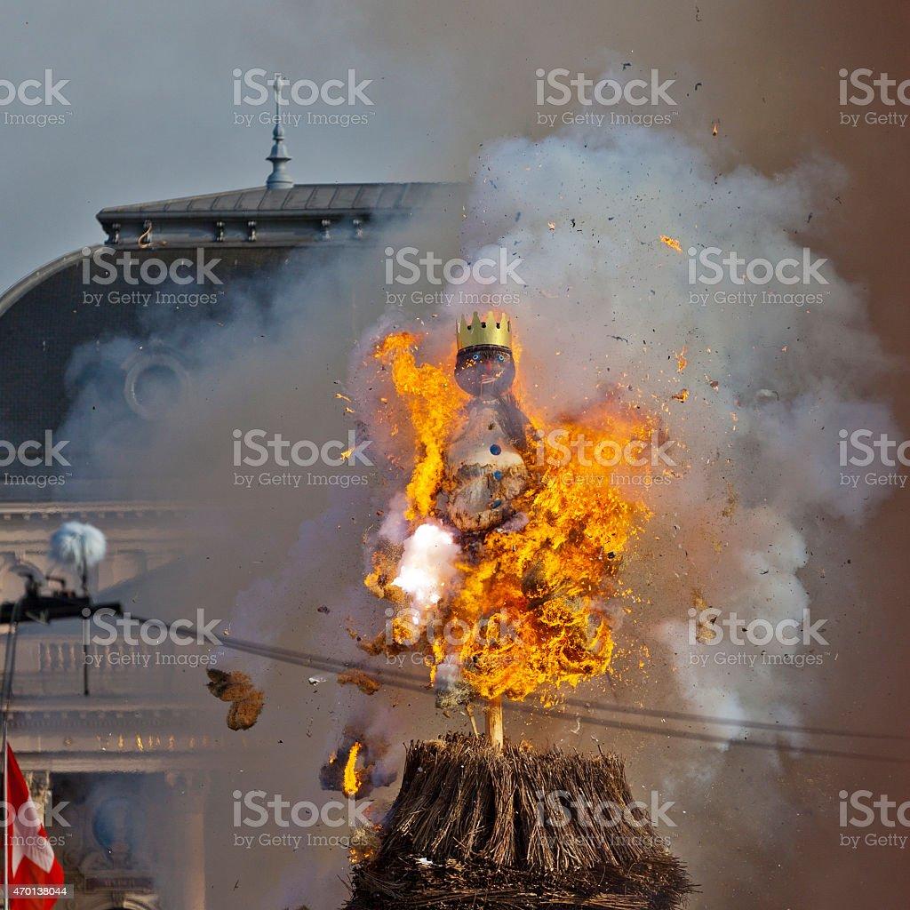 Burning Sechseläuten Böögg stock photo