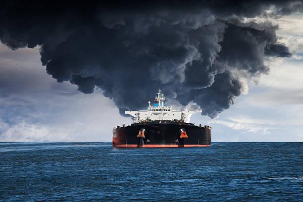Burning ship stock photo