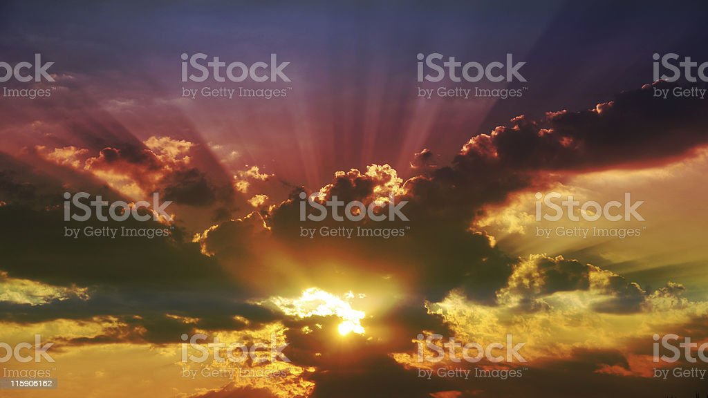 Burning sky - filtered stock photo