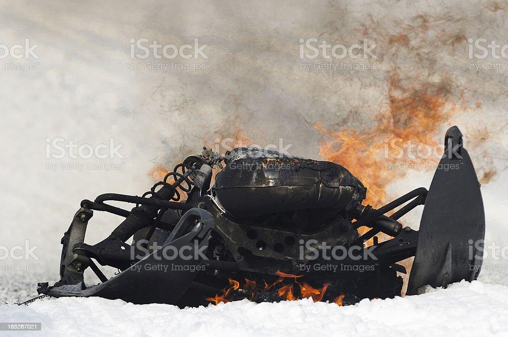 Burning Snowmobile royalty-free stock photo