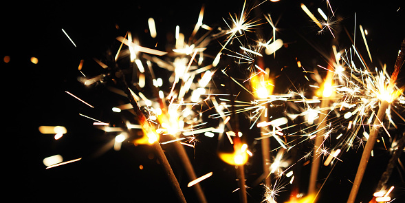 istock Burning sparkler background, Happy New Year. Panoramic view 1130307120