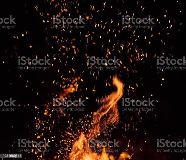 Photo of Burning sparks flying. Beautiful flames background.
