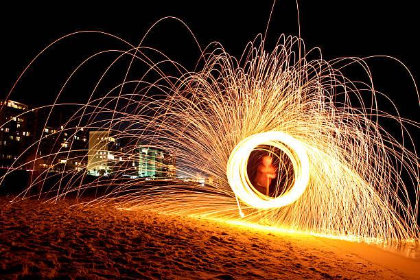 Burning Steel Wool In Destin stock photo