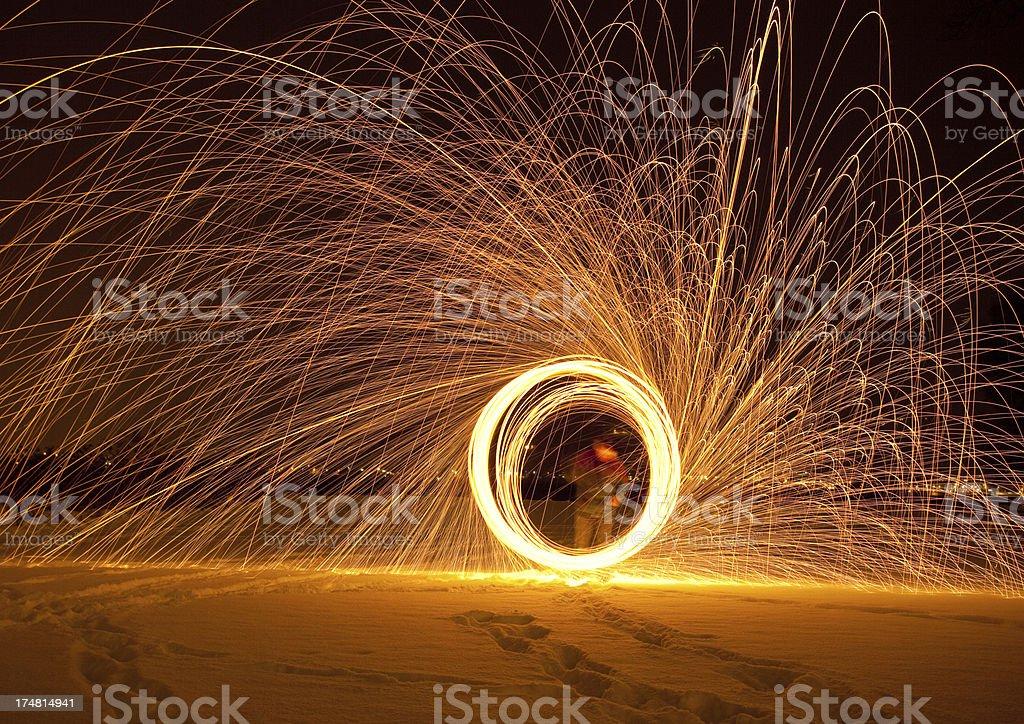 burning steel wool royalty-free stock photo