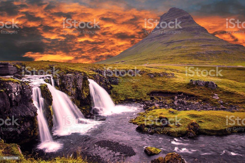 Burning sunset over mountain stock photo