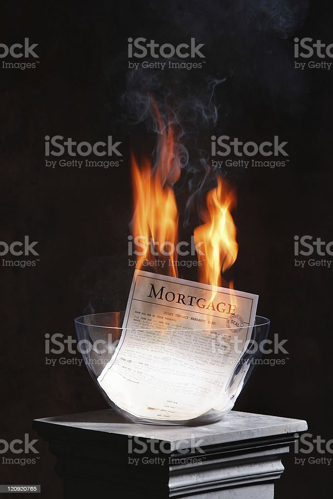 Burning the Mortgage royalty-free stock photo