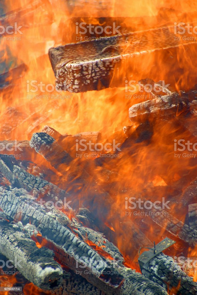 Burning Timber royalty-free stock photo