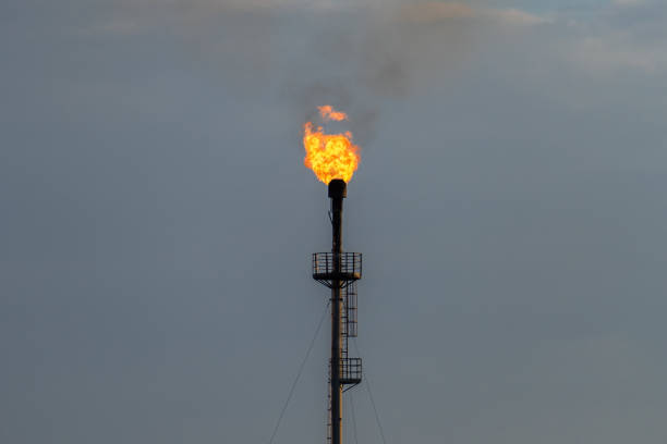 burning torch at the refinery against the grey sky stock photo