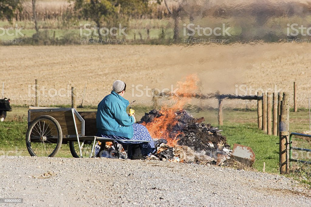 Burning Trash royalty-free stock photo