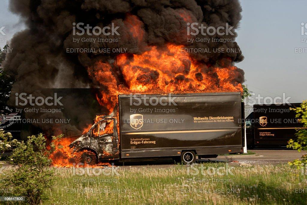 Burning UPS Truck stock photo