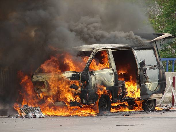 Burning Van caused by a Bomb Burning Van caused by a Bomb terrorism stock pictures, royalty-free photos & images