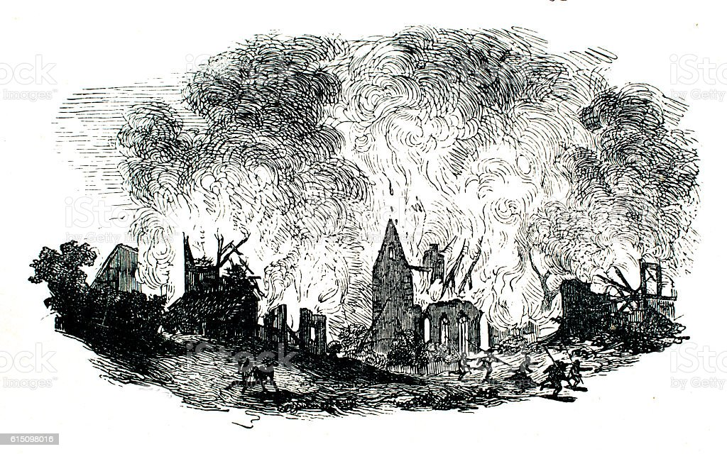 Burning Village in the thirty year war stock photo