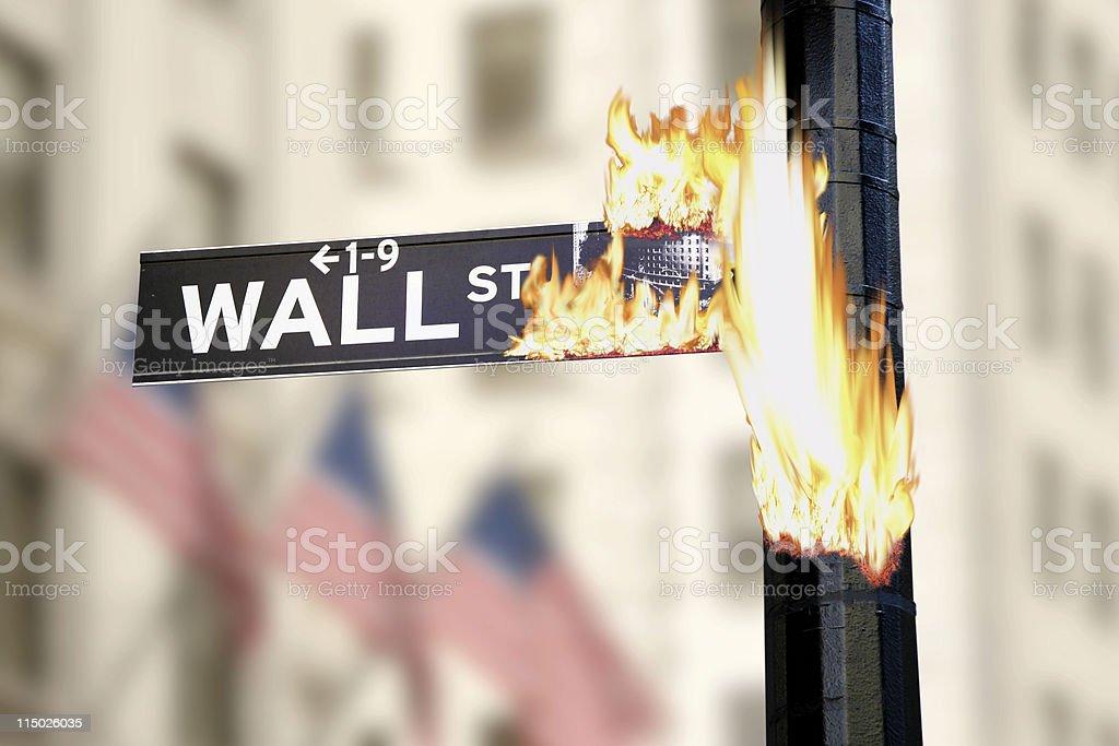 Burning Wall Street Sign royalty-free stock photo