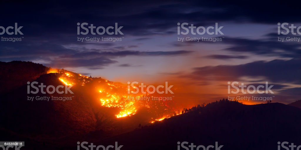 Burning Wildfire at Sunset stock photo