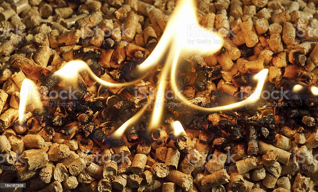 burning Wood chip biomass fuel stock photo