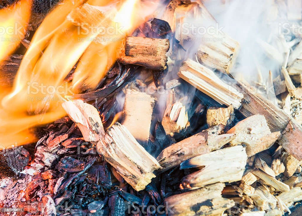 Burning Wood Chips stock photo