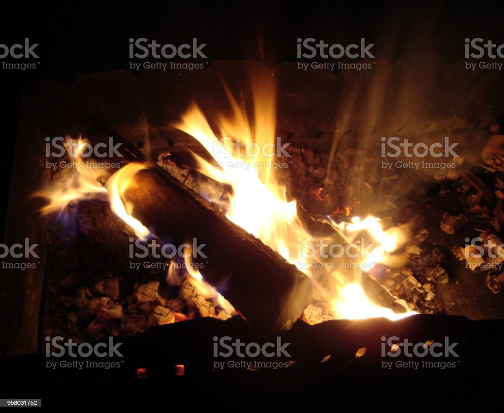 Burning wood in brazier. stock photo
