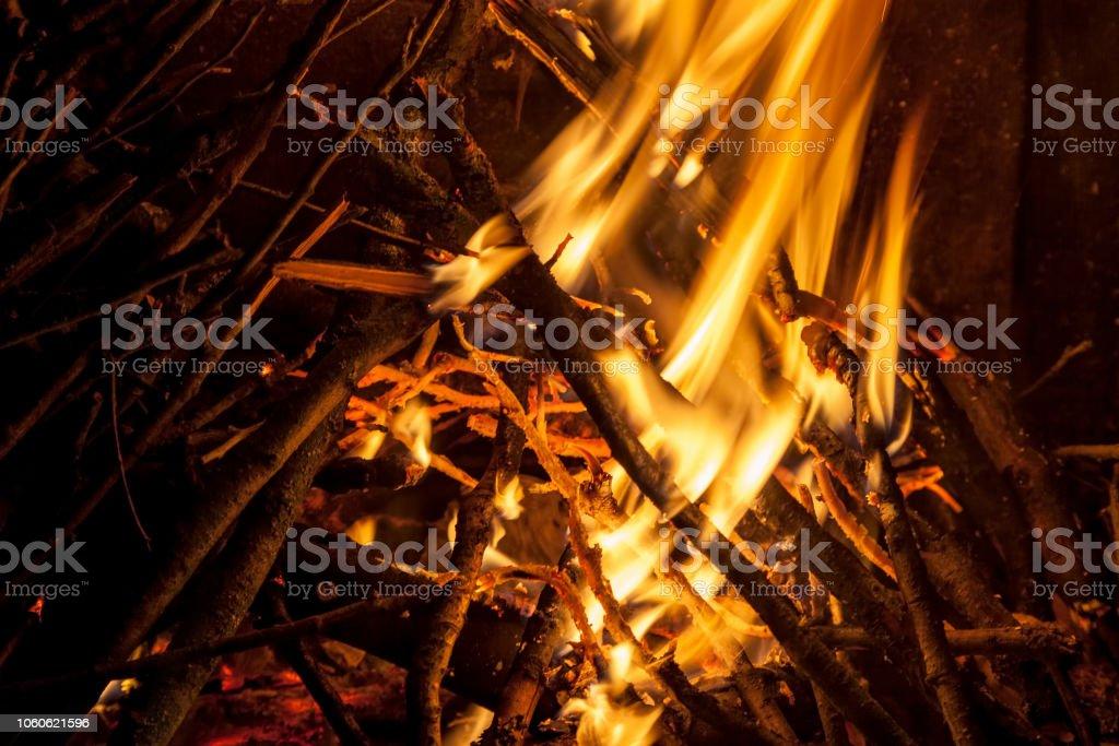 Burning wood in fireplace stock photo