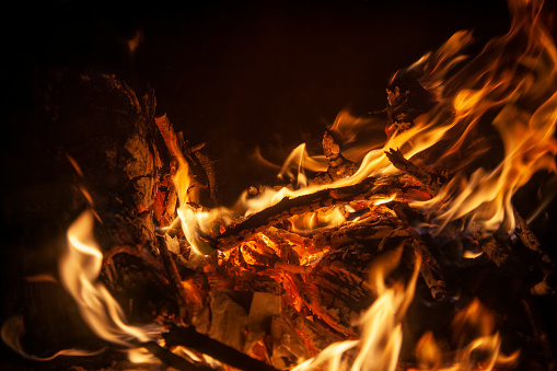 Background of smoldering wood in a fireplace closeup