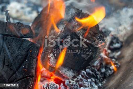 Burning wood on an outdoor woodburner