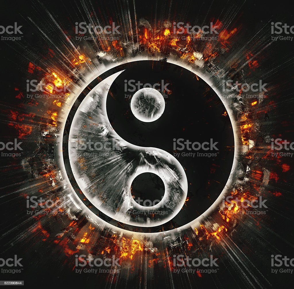 Burning yin-yang sign stock photo