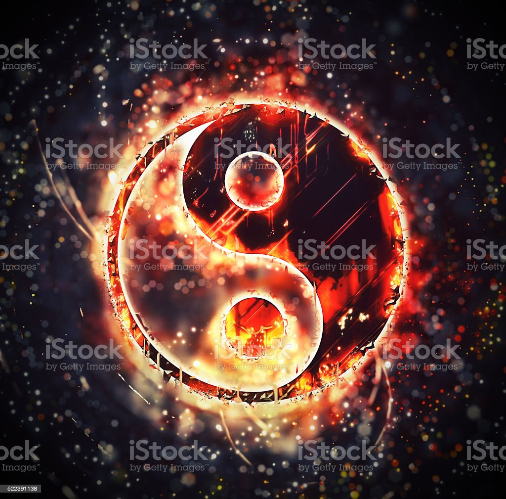 Burning yin-yang sign stock photo