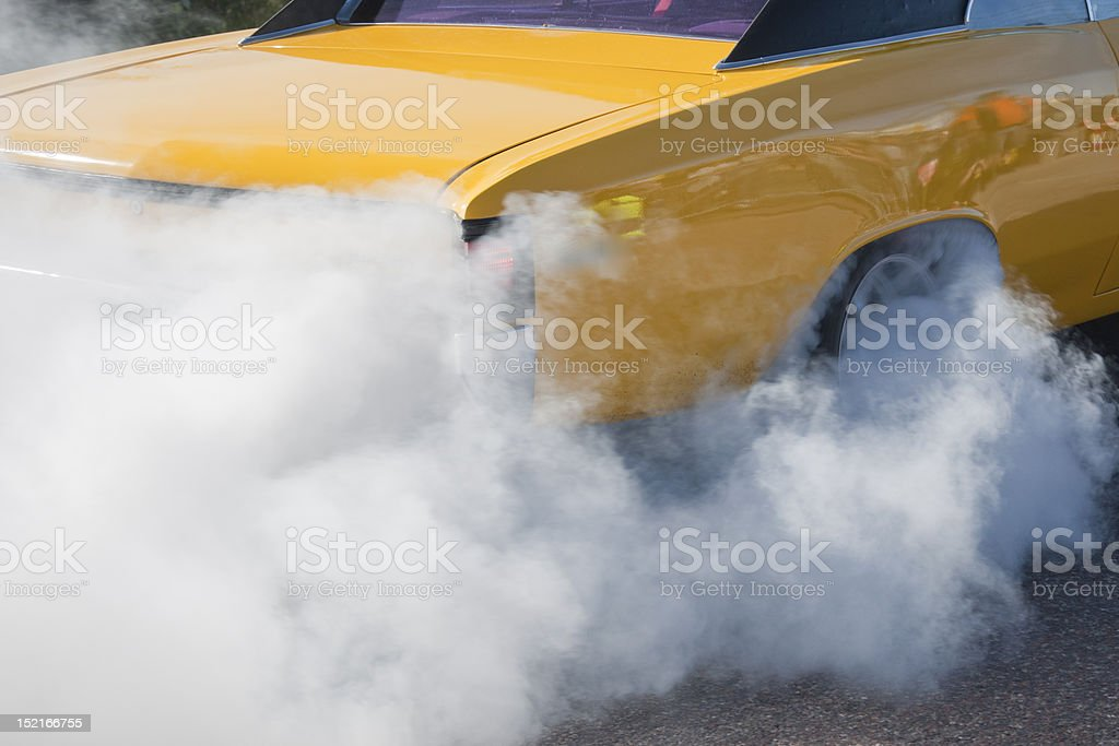 Burnout at a race stock photo