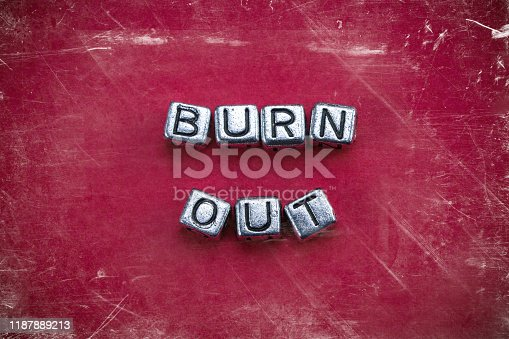 1091817198 istock photo Burnout background concept with cubic metal letters 1187889213