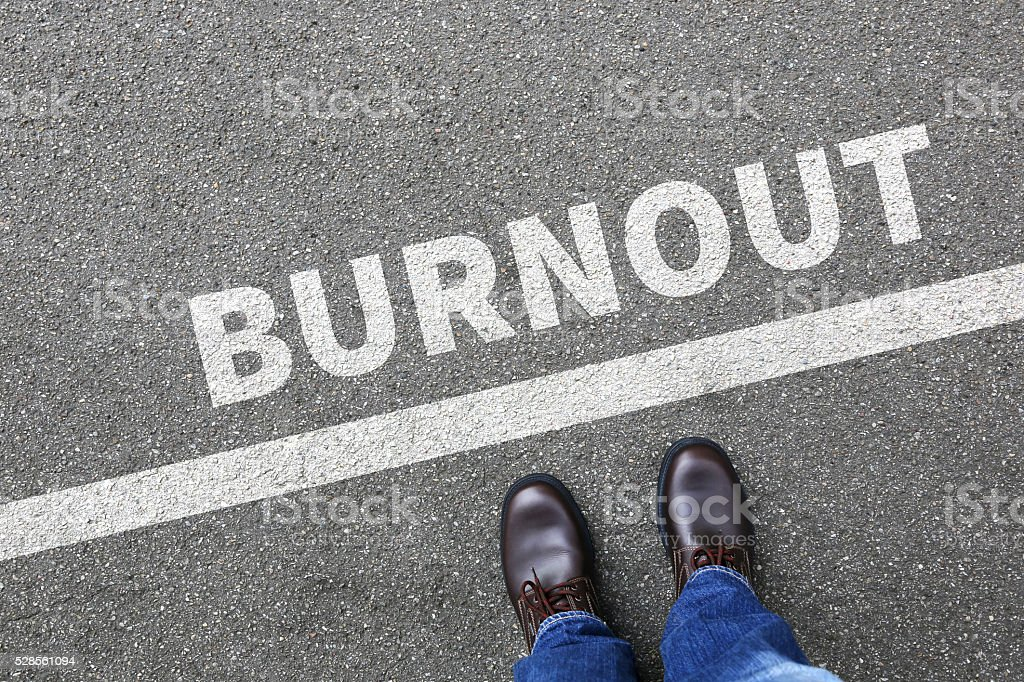 Burnout ill illness stress stressed at work businessman business stock photo