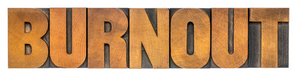 burnout - isolated word in wood type printing blocks stock photo