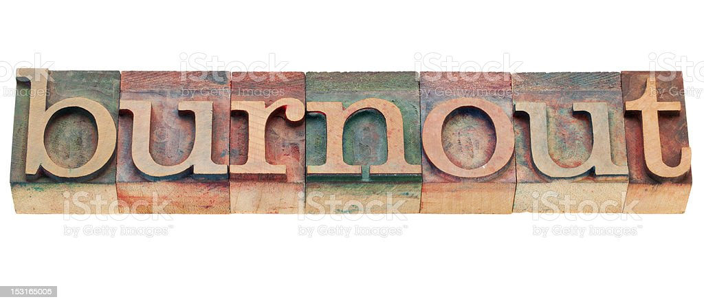 burnout word in letterpress type royalty-free stock photo