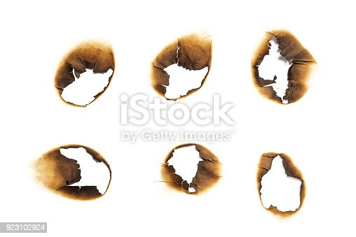 istock burns paper hole on white backgrounds 923102924