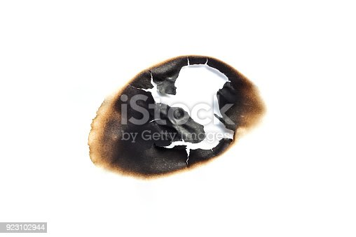 istock burns paper hole on white backgrounds 923102944