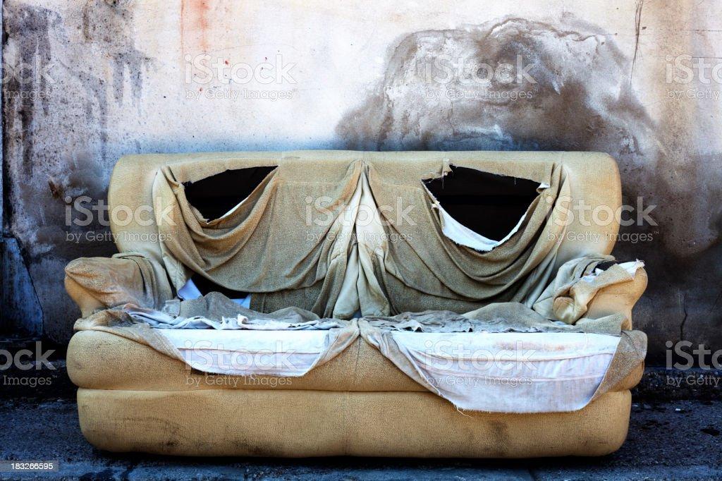 Burnt Abandoned Sofa/Background royalty-free stock photo