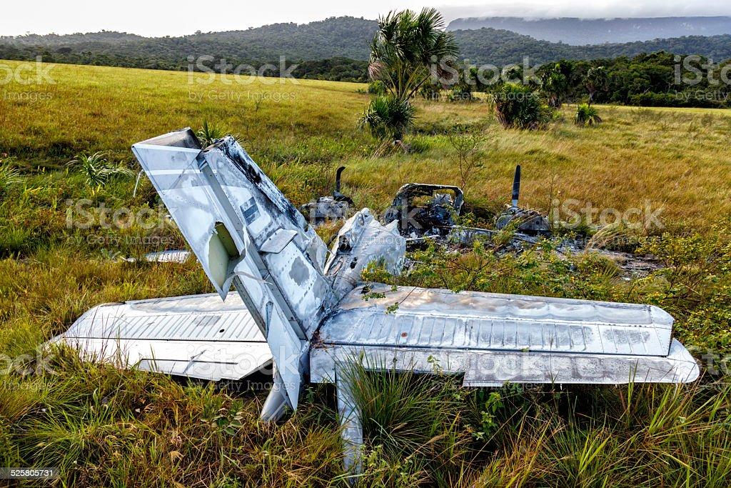 Burnt airplane wreckage stock photo