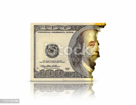 Image of a burnt $100 bill on white background.